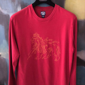 Vintage Red ROOTS Embroidered Tee Shirt sz S Mens